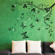 Wall Sticker Decal Butterfly Vine with Swarovski Crystals Home Decorations Art