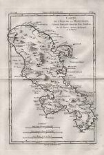 Martinique island Caribbean Sea Antilles map Bonne 1780 Atlas engraving