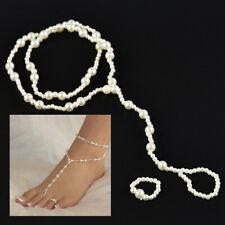 + Toe Ring Beach Ankle Bracelet Women Pearl-Barefoot Sandal Anklet Foot Chain