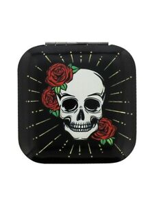 Mirror Skull and Bones with Rose Compact Assorted Styles Black 6.5x6.5cm