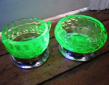Uranium Glass Green Depression Glass UV tested Metal Base Sugar Bowl + Milk Jug