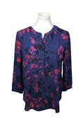 NYDJ Women's Size S Purple Floral Popover Top Blouse V-Neck 3/4 Sleeve Career