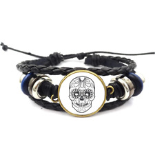 Sugar Skull-Day Of The Dead Glass Cabochon Bracelet Braided Leather Strap