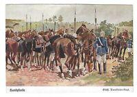 """AK, Künstlerkarte von Döbbrich-Steglitz, """"Handpferde, Sächs. Carabinier Rgt."""""""