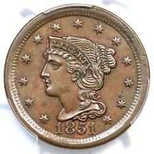 1851 N-39 R-3 PCGS MS 63 BN CAC Braided Hair Large Cent Coin 1c