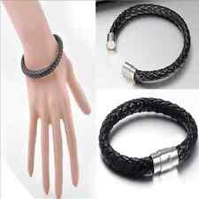 Unisex Black Men's Genuine Braided Leather Cool Magnetic Clasp Gift Bracelet New