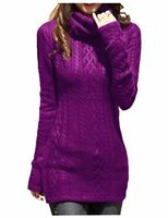 v28 Women Polo Neck Knit Stretchable Elasticity Long, Lightpurple, Size 12.0 05L