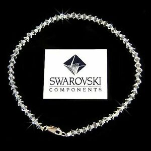 Simple Bridal made with Swarovski Crystal Beach Wedding Sterling Silver Anklet
