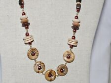 HANDCRAFTED JASPER, WOODEN & SHELL PEARL BEADED NECKLACE SET PK90