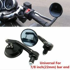 "Black Round Motorcycle CNC Aluminum Rear View Handle Bar End 7/8"" 22mm Mirrors"