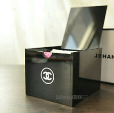 CHANEL VIP Gift Vanity Cotton Pads Box Cosmetic Holder Black Acrylic w/ CC Logo