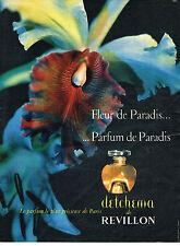 PUBLICITE ADVERTISING  1957   REVILLON   DETCHEMA parfum FLEUR DE PARADIS
