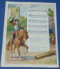 Rare chromo 1900 14 x 18 rhyme song malbrough war pub the coterie ecole