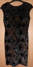 Top Shop Black Velvet Gold & Silver Glitter Pattern Fully Stretch Dress size 10