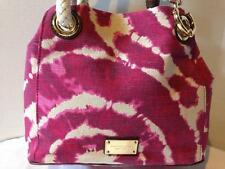 NEW MICHAEL KORS MARINA CANVAS LACQUERPINK CONVERTIBLE PURSE GRAB HANDBAG