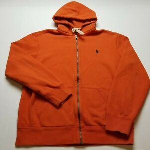 Polo Ralph Lauren Sweatshirt Mens L Orange Hoodie Full Zip Front Blue Pony @86