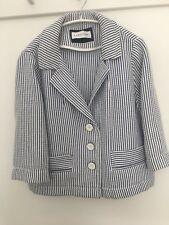 Caractere Blue And White Short Box Style Unlined Jacket 73ded06e0f42