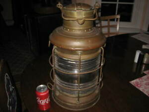"Antique all Original Perko 20"" tall Ship's Lantern 29"" Lens circumference it'..."