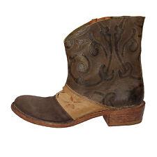 scarpe donna MOMA 36 EU stivaletti marrone beige pelle camoscio AE215