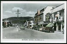 KELOWNA BRITISH COLUMBIA BERNARD AVENUE 1940s BC B.C. RPPC Photo Postcard