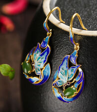 D03 Cloisonne Ohrring Silber 925 vergoldet Schmetterling grüner Jaspis