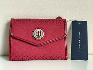 NEW! TOMMY HILFIGER RED MEDIUM FRENCH CLUTCH WALLET $35 SALE