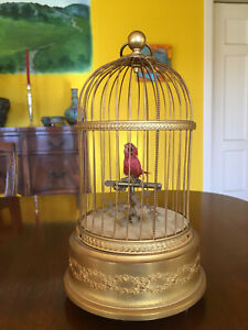 French Antique 'BONTEMS'  Singing Bird Gilded Cage Automaton -  See VIDEO