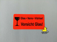 50 Etiketten VORSICHT GLAS 150x50 mm Aufkleber 50 Stück Versandetiketten