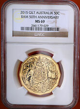 2015 Australia Gold Plated 50 Cents NGC MS 69 BU Lustrous Coin Limited Mintage