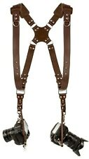 Coiro Dual Leather Camera Harness Padded Shoulder Adjustable Strap Brown Quick