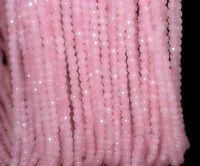Natural 4mm Faceted Pink Rose Quartz Gemstone Round Loose Beads 15''