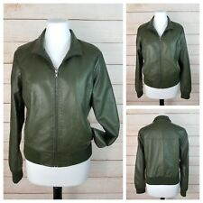 Forever 21 Jr L Olive Green Faux Leather Bomber Jacket Pockets Zip-Up Vegan