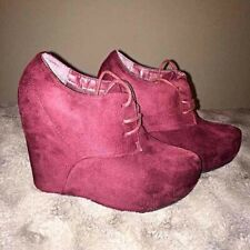 Burgundy Lace Up Wedges 10 M