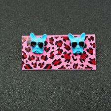 Betsey Johnson Blue Enamel Sunglasses Bulldog Dog Women's Ear Stud Earrings