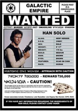 CLASSIC MOVIE ArtPrint STAR WARS Wanted HAN SOLO 420mm x 297mm Ltd Ed A3Print