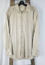 Pronto Uomo men 17 36/37 cream long sleeve shirt button down 80's 2-ply non iron