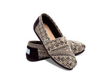 TOMS Alpargata Natural Black Taupe Printed Tribal Wool Women's Slip-On Shoes Sz6