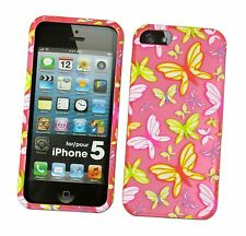 For iPhone 5 5s SE Butterfly Pink Slim Hard Shell Protective Phone Case Cover