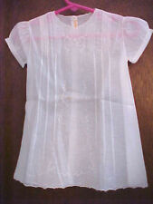 Vintage Baby Dress Infant Size 3 Months Handmade Tucks Pulled Work Embroidery