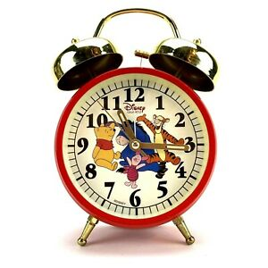 Disney Winnie The Pooh Quartz Alarm Clock Tigger Piglet Eeyore Red Double Bell