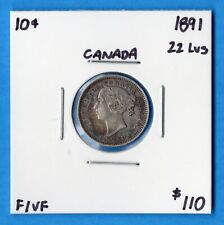 Canada 1891 22 Leaves 10 Cents Ten Cent Silver Coin - F/VF