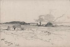 GEORGE CHARLES HAITE Victorian Pencil Drawing 1894 SEAFORD SUSSEX FARM LANDSCAPE
