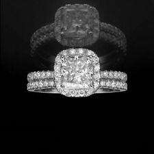 Cushion White Gold VVS1 14k Diamond Engagement Rings
