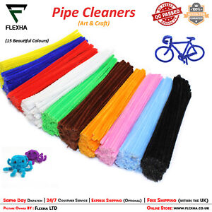 """Chenille Stems Pipe Cleaners High Quality 30cm 12"""" long 6mm wide Ideal for Craft"""