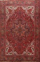 Traditional Semi Antique Geometric Area Rug Hand-Knotted RED Wool Carpet 10x12