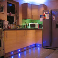LED Plinth Garden Decking Kitchen Round Lights 15mm in COOL / WARM WHITE or BLUE