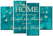TEAL CREAM CANVAS HOME FAMILY FRIENDS QUOTE WALL ART PICTURE MULTI 4 PANEL 100cm