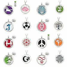 30mm Steel Aromatherapy Locket Essential Oil Diffuser Pendant Necklace 10pad