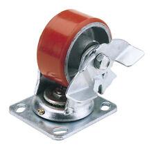 Draper 160mm diámetro la fijación de Placa Giratoria Rueda De Poliuretano W FRENO SWL 400Kg | 65530