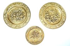 Bronze Style Medallion Lot of 3 Plates Hall Scenes Made England Decor Vintage